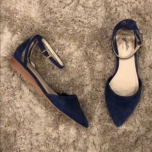 Seychelles Blue Suede Leather Mini Wedge Sandals